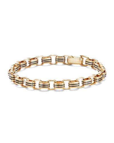 Men's 5mm 18k Gold Southwest Link Bracelet, Size L