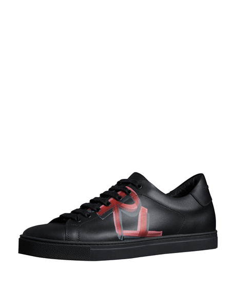 Burberry Men's Albert Logo-Print Leather Sneakers, Black/Red