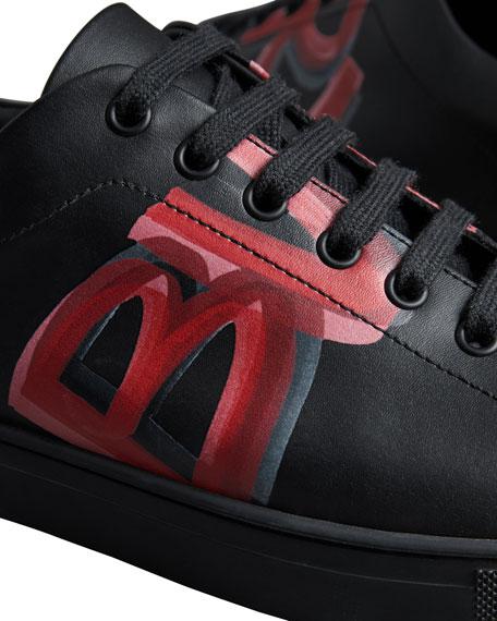 Men's Albert Logo-Print Leather Sneakers, Black/Red