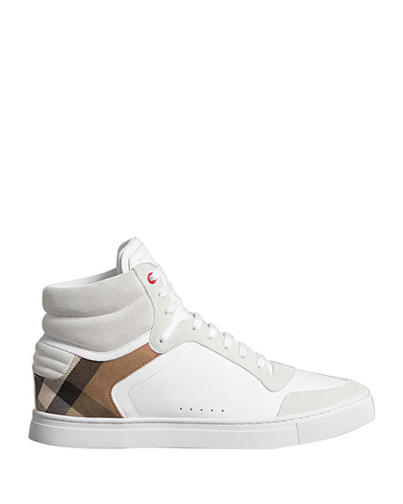 Burberry Men's Reeth High-Top Leather Sneakers