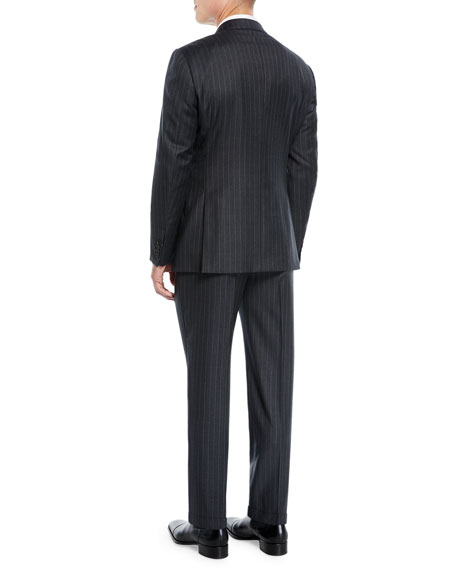 Men's Striped Two-Piece Wool Suit