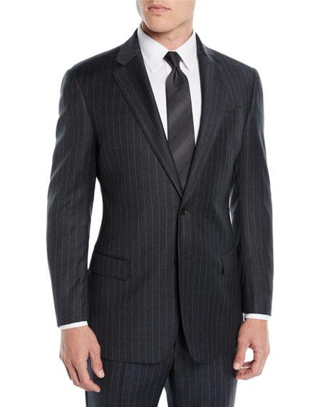 Men's Striped Two-Piece Wool Suit