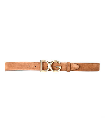 Men's Suede Belt w/ Logo Buckle