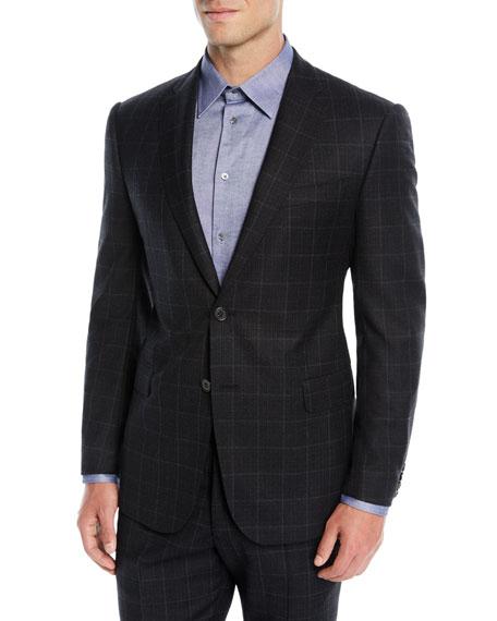 Men'S Windowpane Wool Two-Piece Suit, Charcoal