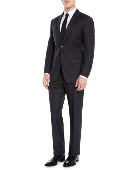 Men's Plaid Two-Piece Wool Suit