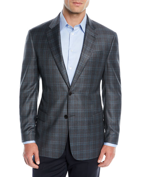 Men's Wool Plaid Two-Button Jacket