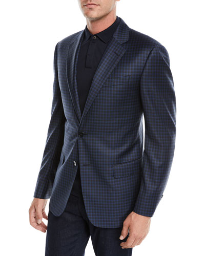 Men's Box Check Wool Two-Button Jacket