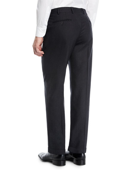 Men's Solid Melange Flat-Front Trousers