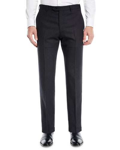 Men's Solid Melange Flat-Front Trousers