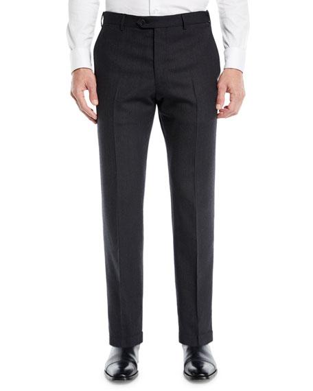 Emporio Armani Men's Solid Melange Flat-Front Trousers