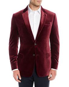 Emporio Armani Mens Liquid Velvet Two-Button Jacket