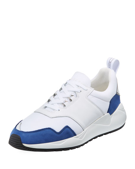 BUSCEMI Men'S Ventura Lace-Up Trainer Sneakers in White/Blue