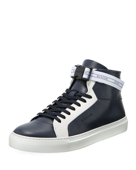 Buscemi Men's 100mm Sport Two-Tone Leather High-Top Sneakers