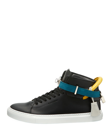Men's 100mm Tricolor Leather Turn-Lock Mid-Top Sneakers
