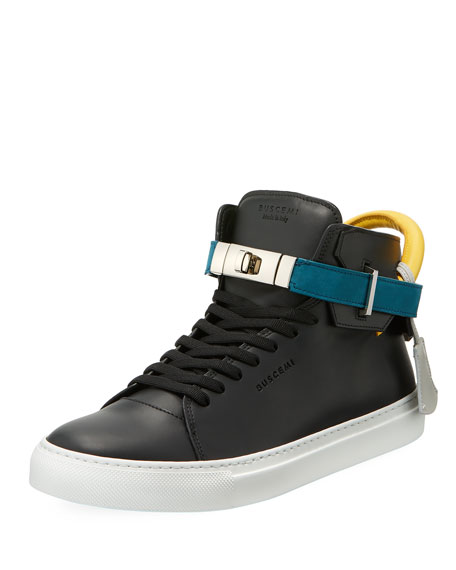 Buscemi Men's 100mm Tricolor Leather Turn-Lock Mid-Top Sneakers
