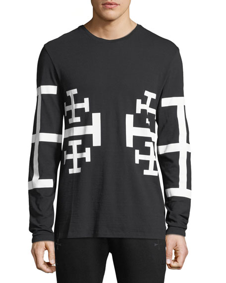 Men's Mirrored Geometric Star Long-Sleeve Cotton Tee