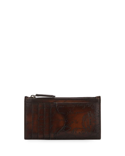 Koa Scritto Leather Card Case/Zip Wallet