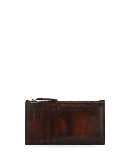 Berluti Koa Scritto Leather Card Case/Zip Wallet