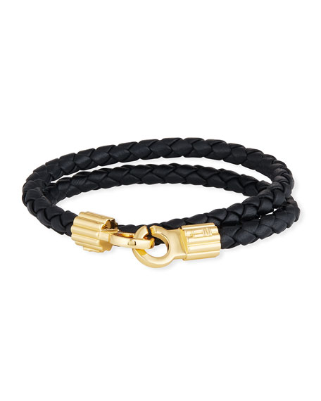 Men's Braided Napa Leather Bracelet, Black/Gold