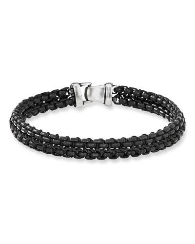 Men's 10mm Woven Box Chain Bracelet  Black