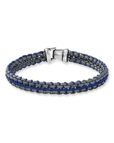 Men's 10mm Woven Box Chain Bracelet  Blue