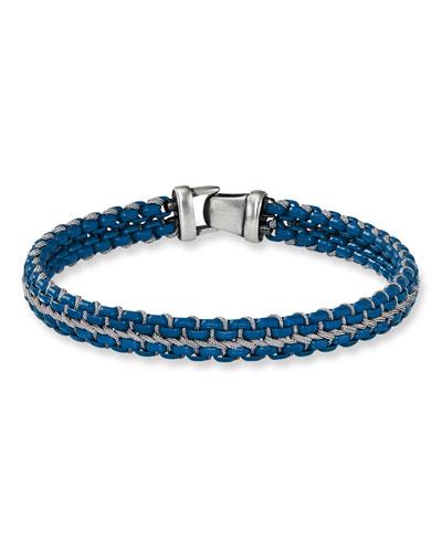 Men's 10mm Woven Box Chain Bracelet  Navy