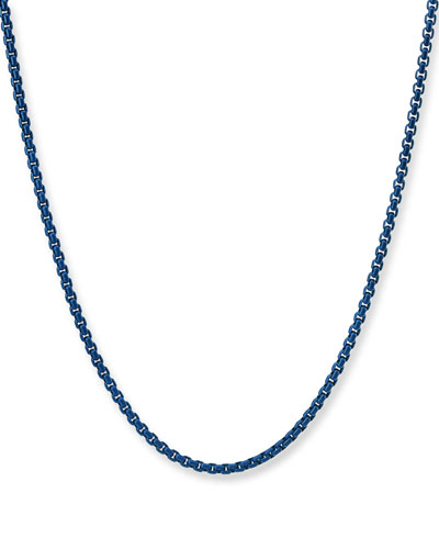 Men's Acrylic-Coated Stainless Steel Box Chain Necklace  24