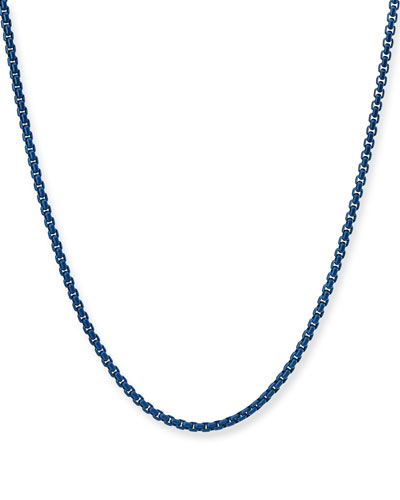 Men's Acrylic-Coated Stainless Steel Box Chain Necklace  26