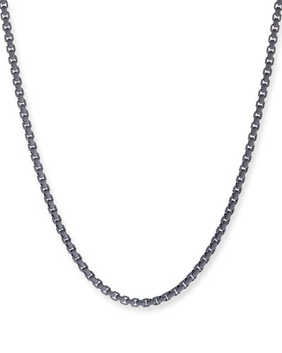 Men's Acrylic-Coated Stainless Steel Box Chain  Gray  24