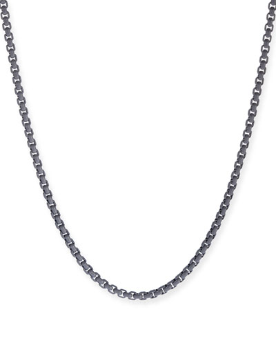 Men's Acrylic-Coated Stainless Steel Box Chain  Gray  26