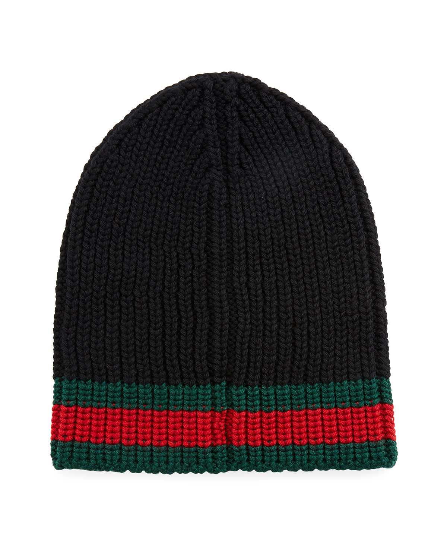 8fc51fd8880 Gucci Wool Beanie Hat w Web