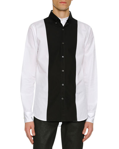 Men's Colorblock Paneled Button-Front Shirt