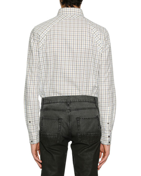 Men's Check Buckle-Detail Sport Shirt