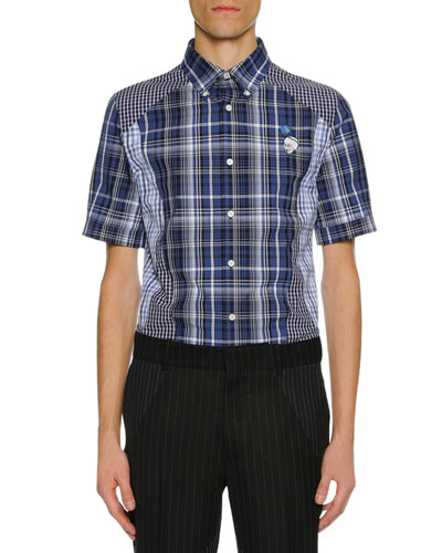 Men's Pieced Plaid Short-Sleeve Sport Shirt