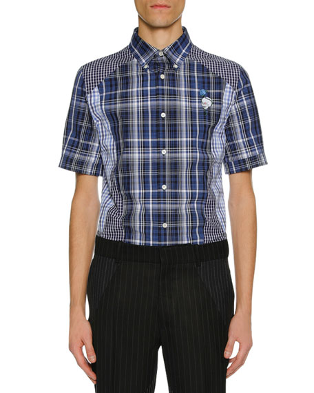 Alexander McQueen Men's Pieced Plaid Short-Sleeve Sport Shirt