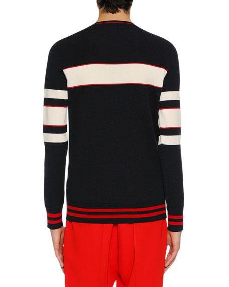 Men's Striped Wool-Blend Varsity Sweater