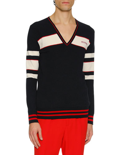 Men's Striped Wool-Blend Varsity Sweater