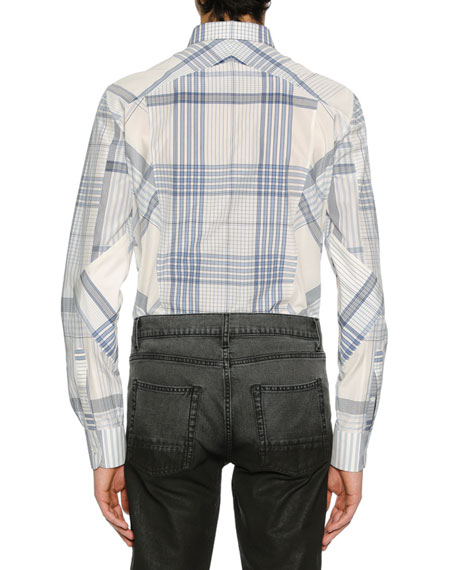 Men's Pieced Plaid Sport Shirt