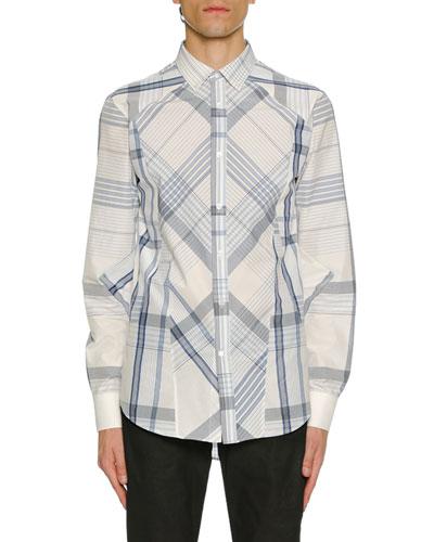Men's Pieced Plaid Sport Shirt