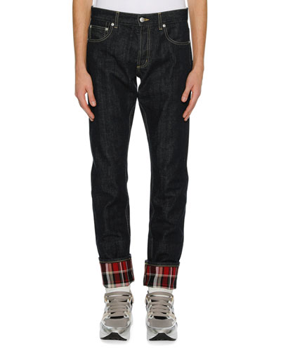 Men's Straight-Leg Jeans with Plaid Cuffs