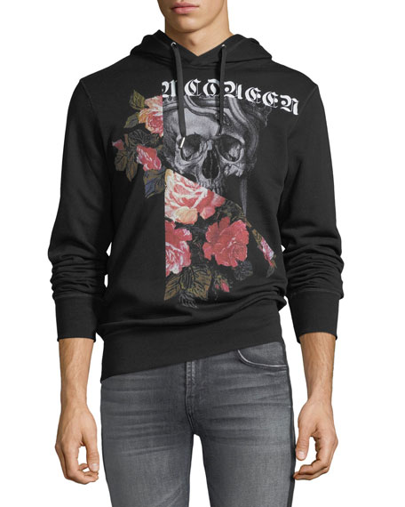 Men's Pieced Floral Skull Graphic Hoodie
