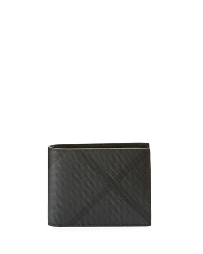 Men's Leather Check Bifold Wallet