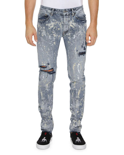 Men's Dark Splatter Slim-Fit Distressed Jeans