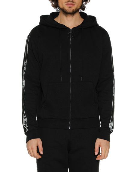 Men's Striped Zip-Front Hoodie
