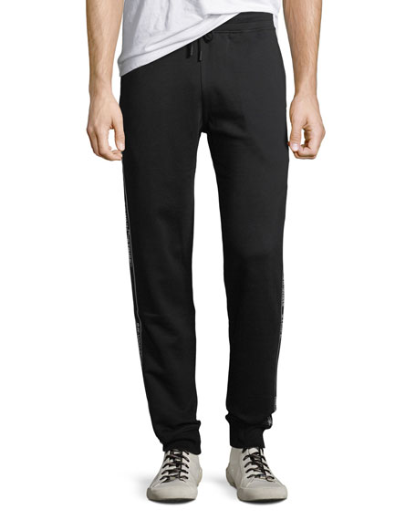 Men's Cotton Track Pants with Logo Taping