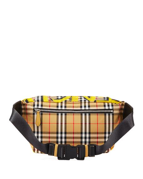 Men's Sonny Graffiti Check Crossbody Belt Bag/Fanny Pack