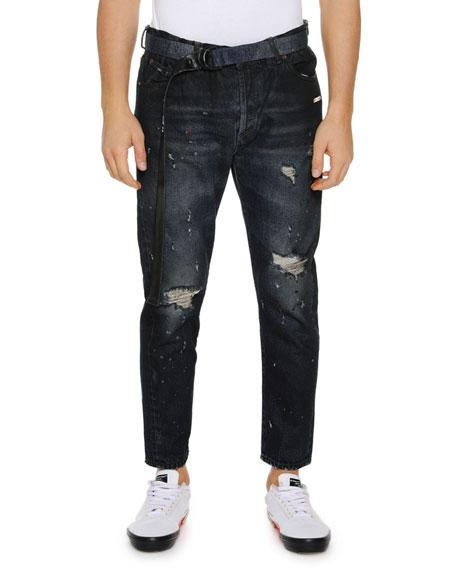 Men's Slim Low-Crotch Distressed Jeans