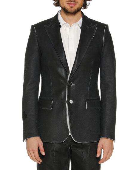 Men's Skinny Leather-Like Blazer