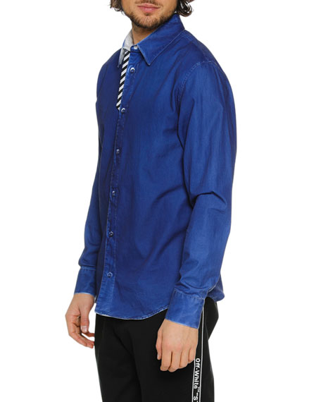 Men's Formal Denim Sport Shirt