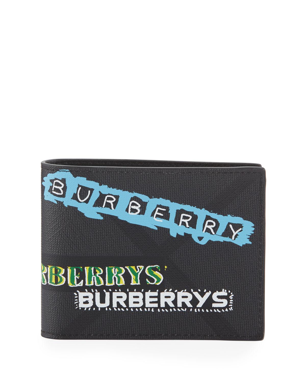 ed393995309 Burberry Men s Graffiti Logo-Print Leather Bi-Fold Wallet